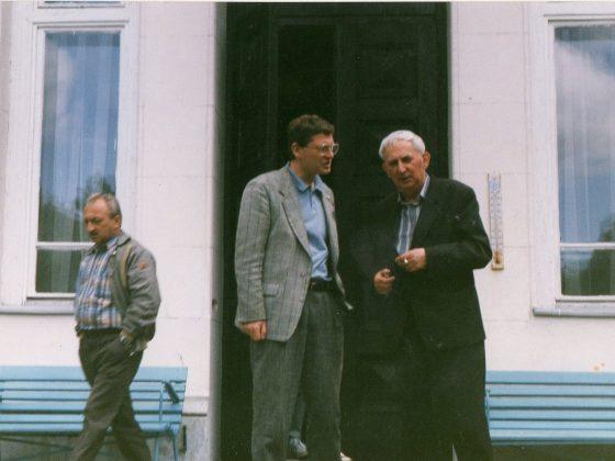 Gustaw Holoubek i Andrzej Sękowski na obozie w Jadwisinie, 1992